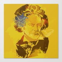 beethoven Canvas Prints featuring Beethoven by BIG Colours