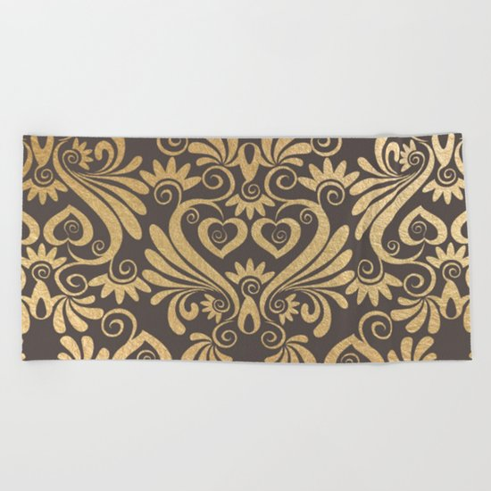 Gold swirls damask #5 Beach Towel