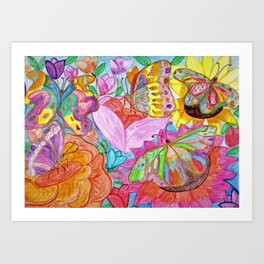 Colourful Butterfly among colourful flowers Art Print