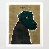labrador Art Prints featuring labrador black  by bri.buckley