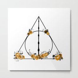 Deathly Hallows in Gold and Gray Metal Print