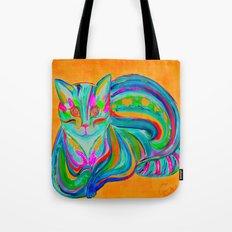 Hypnotic Rainbow Cat - Orange Background Tote Bag