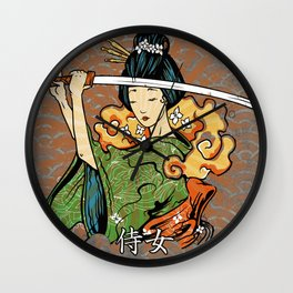 Samurai Woman, Geisha Warrior, Ronin, Gift to Any Martial Arts Girl Wall Clock
