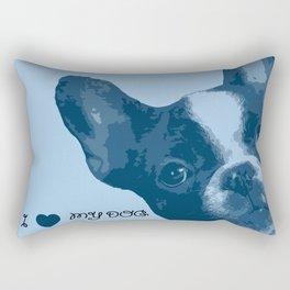 I love my dog - French Bulldog, blue Rectangular Pillow