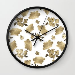 Modern white faux gold brushstrokes floral pattern Wall Clock
