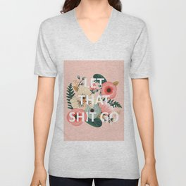 LET THAT SHIT GO - Sweary Floral (peach) Unisex V-Neck