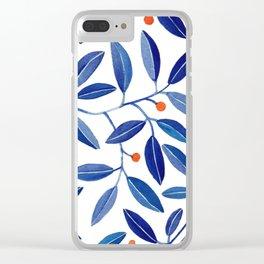blue leaf pattern Clear iPhone Case