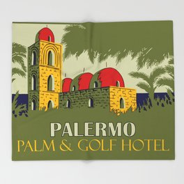 Retro Palermo Sicily hotel travel ad Throw Blanket