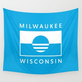 Milwaukee Wisconsin - Cyan - People's Flag of Milwaukee Wall Tapestry