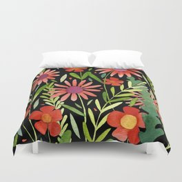 Flower Burst Orange and Black, floral pattern design Duvet Cover