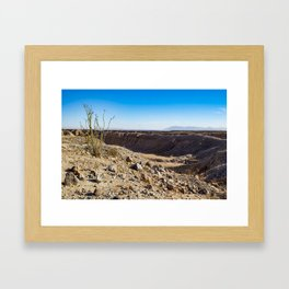 Lone Ocotillo Reaching up to the Blue Sky in front of a Gorge in the Anza Borrego Desert State Park Framed Art Print