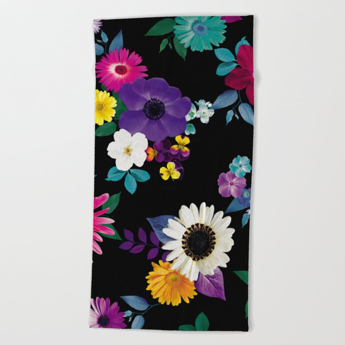Bright flowers on a black background Beach Towel