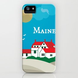 Maine - Skyline Illustration by Loose Petals iPhone Case