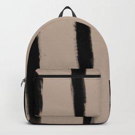 Medium Brush Strokes Vertical Black on Nude Backpack