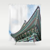 seoul Shower Curtains featuring Daeseongsa Temple, Seoul by Jennifer Stinson