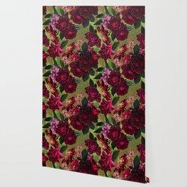 Vintage & Shabby Chic - Botanical Roses Summer Garden   Wallpaper