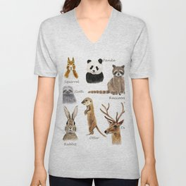 cute animals watercolor collection Unisex V-Neck