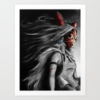 princess Art Prints featuring Miyazaki's Mononoke Hime Digital Painting the Wolf Princess Warrior Color Variation by Barrett Biggers