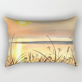 Sunset by the Water Watercolor Painting Rectangular Pillow