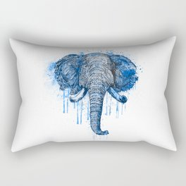 Blue Watercolor Elephant Head Rectangular Pillow