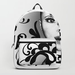 Black and white ornamental face Backpack