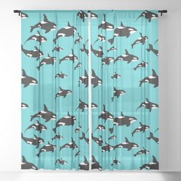 Orca Whale Pattern on Blue Sheer Curtain
