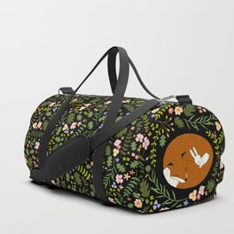 Friendship in Wildlife_Fox and Bunny_Bg Black Duffle Bag