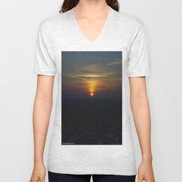 Chicago Sunset, February 6, 2015 (Chicago Sunrise/Sunset Collection) Unisex V-Neck