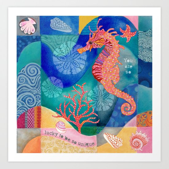 Seahorse collage Art Print