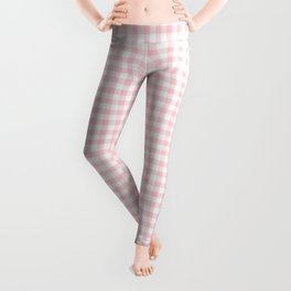 Small Blush Pink Valentine Pale Pink and White Buffalo Check Plaid Leggings
