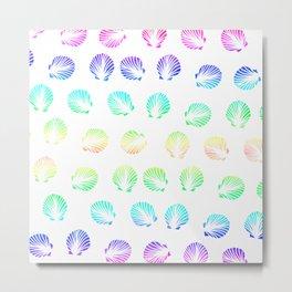 Modern summer mermaid watercolor neon gradient seashells pattern Metal Print