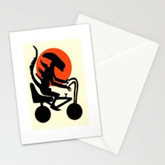 alien on a chopper Stationery Cards