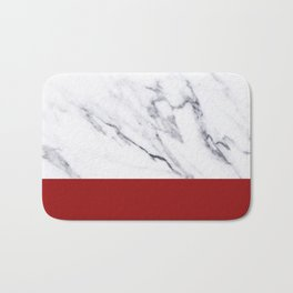 White Marble Red Hot Striped Bath Mat