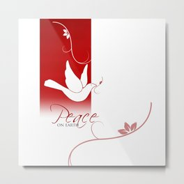 Peace on Earth Dove in Red and White Metal Print