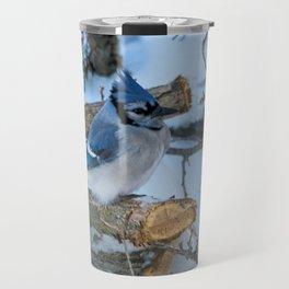 Blue Jay on a White Cedar Log Travel Mug
