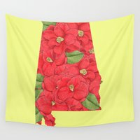 alabama Wall Tapestries featuring Alabama in Flowers by Ursula Rodgers