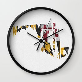 Maryland Typographic Flag Map Art Wall Clock