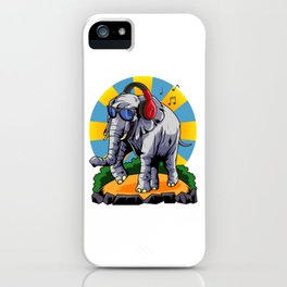 Hipster Elephant | Cool Glasses Headphones Swag iPhone Case