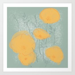 California Poppies in Gray Art Print