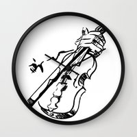 violin Wall Clocks featuring Violin by Azure Cricket
