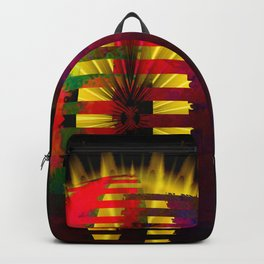 Red Layered Star in Golden Flames Backpack
