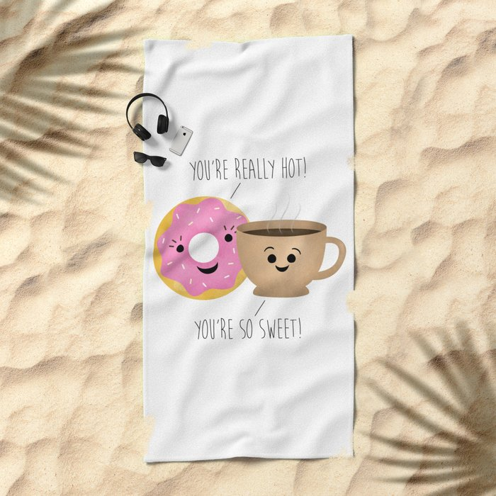 Donut and Coffee  |  Really Hot and So Sweet Beach Towel