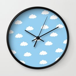 White clouds in blue background Wall Clock