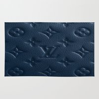 lv Area & Throw Rugs featuring Blue LV Logo by Luxe Glam Decor