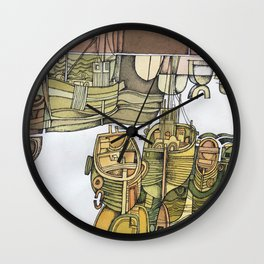 Boats in Folkestone Harbour Kent England Wall Clock