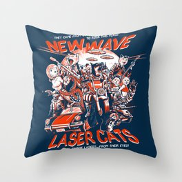 New Wave Laser Cats Throw Pillow