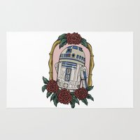 r2d2 Area & Throw Rugs featuring R2D2 by Bare Wolfe
