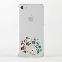Pugs and summer flowers Clear iPhone Case