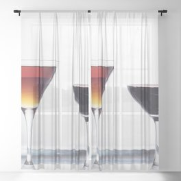 Silver Platter Libations Sheer Curtain