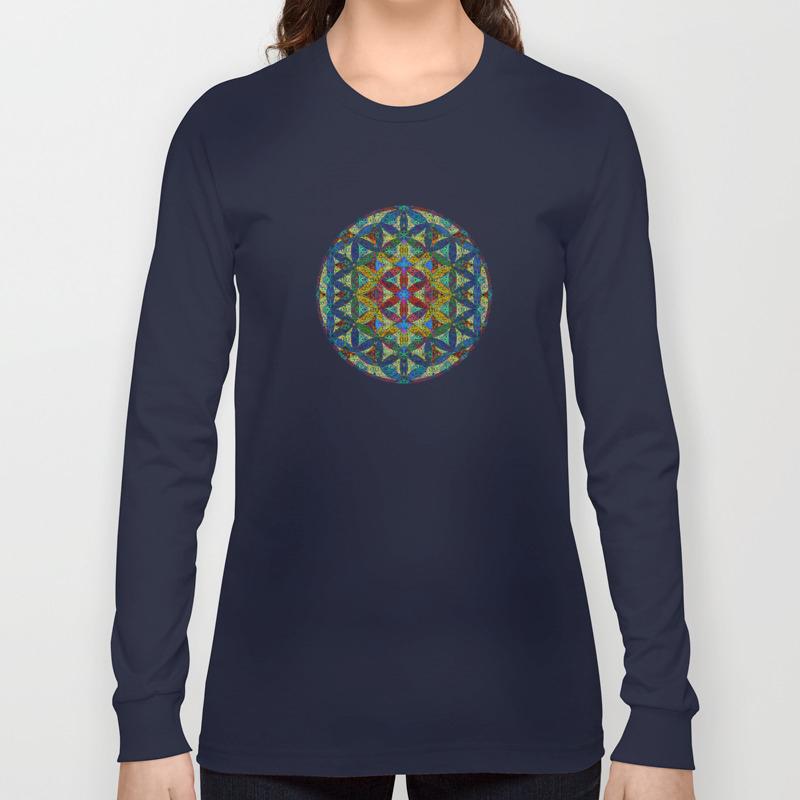 The Flower of Life Sacred Geometry  Women/'s Long Sleeves T-Shirt